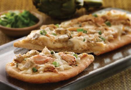 Asiago Artichoke and Crab Flatbread
