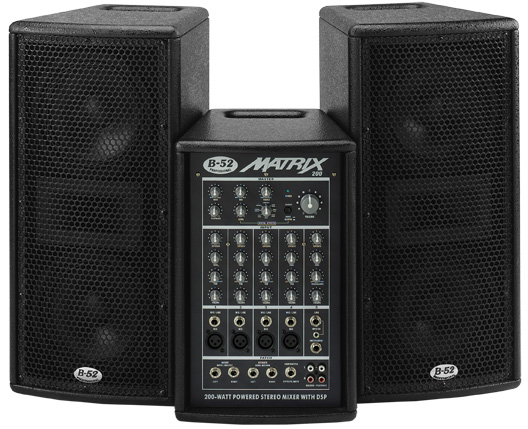 "Buy Matrix-200 Active System Powered Stereo Mixer With DSP & Two Dual 6.5"" Satellites"