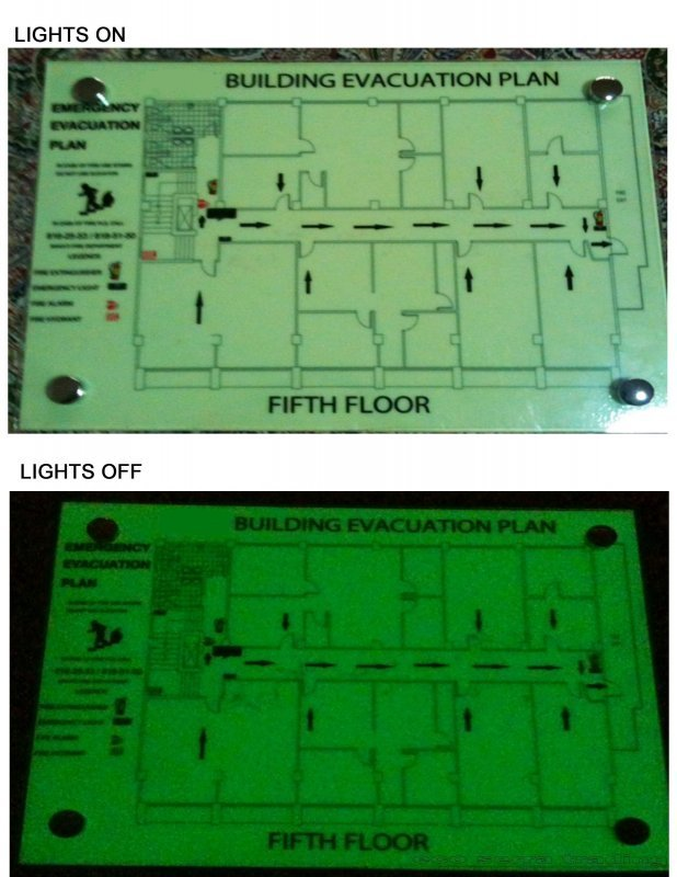 Buy Photo Luminescent / Luminous Evacuation Map