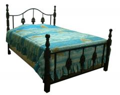 Bedframe metal with wood accent