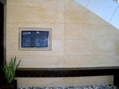 Wall in Figaro Sandstone slabs