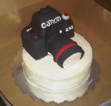 Camera-shaped fondant cake