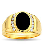 Men's Onyx Ring with CZs