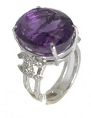 AATRI8 Amethyst Ring with Diamonds