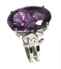 AATRI9 Amethyst Ring with Diamonds