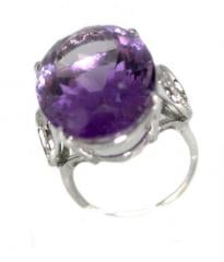 AATRI5 Amethyst Ring with Diamonds