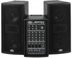 "Matrix-200 Active System Powered Stereo Mixer With DSP & Two Dual 6.5"" Satellites"