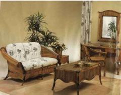 Rattan furniture.