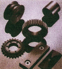 Gear, pulley, abrasive plate, brushing