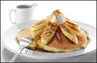 Pancakes with caramel and banana