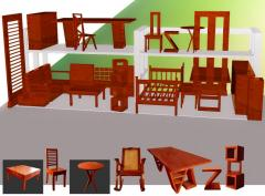 Furniture wooden tables, chairs, stairs.