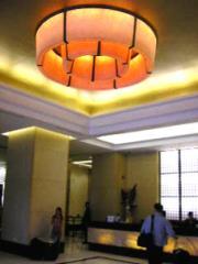 Large round chandelier.