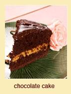 Chocolate cake with cream.