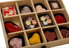 Chocolates shaped in boxes
