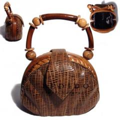Ethnic laminated acacia wood handbag