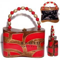 Ethnic collectible handcarved laminated acacia wood handbag