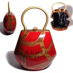 Ethnic collectible handcarved laminated red and gold handbag