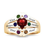 Family Ring With heart shaped stone