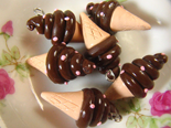 Ice Cream One Tone Charm 4pcs - Chocolate